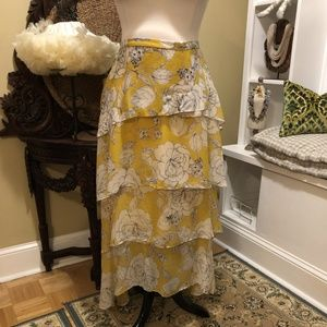 Anthropologie NWT 22W Yellow Floral Tiered Skirt